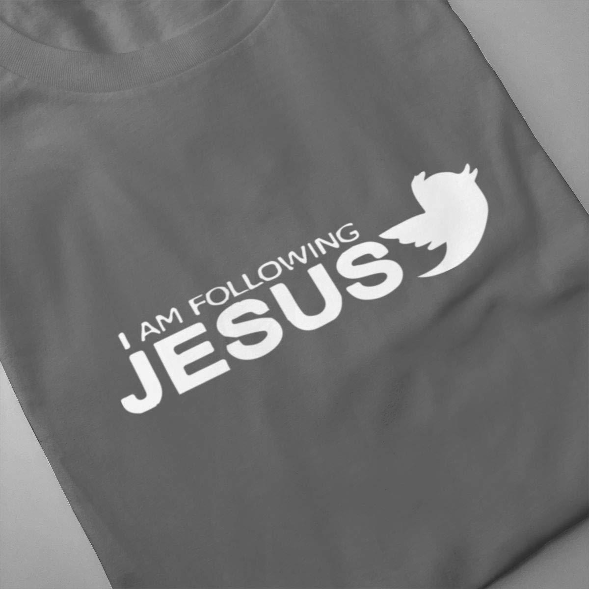 VIIHAHN Men Design I Am Following Jesus Gym Round Neck Short Sleeve T Shirts