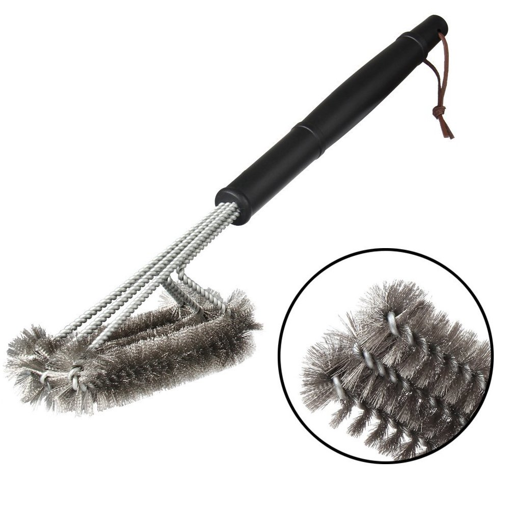 Itian BBQ Grill Brush - 18 Stainless Steel Brushes- 3 in 1 Barbecue Cleaner Tools, Perfect for Handle Weber Charcoal, Charbroil, Gas, Electric, Porcelain, Infrared Grills