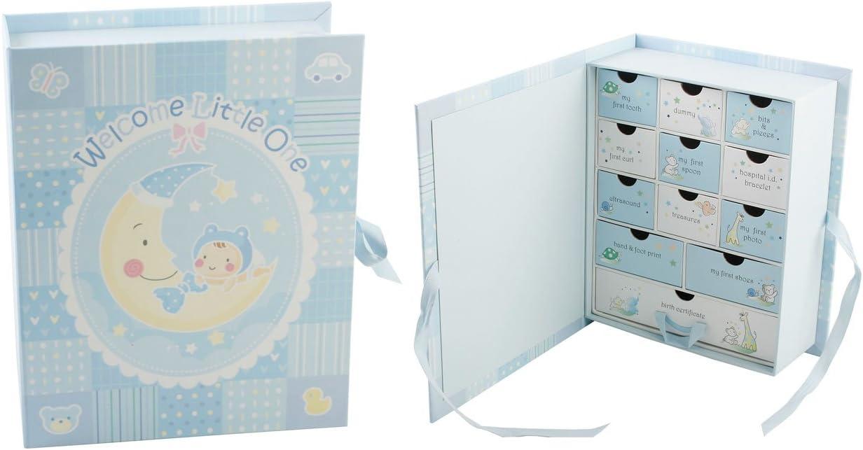 Baby Christening Gift Boys Blue 12 Compartment Keepsake Box
