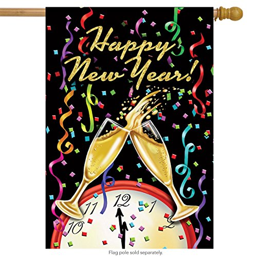 Briarwood Lane Happy New Year House Flag Champagne Confett Clock 28