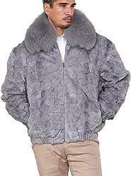 54e6c0a88fbf Christian Mosaic Mink Bomber Jacket for Men in Light Grey