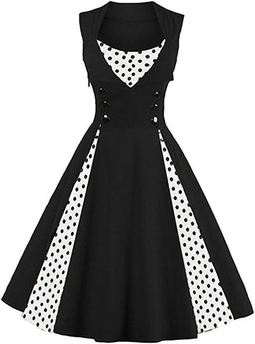 Q&Y Women\'s Plus Size 50s Vintage Classic Polka Dot Swing Pinup Rockabilly  Dress
