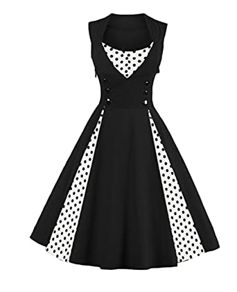 6ea6fe378d956 Q Y Women s Plus Size 50s Vintage Classic Polka Dot Swing Pinup Rockabilly  Dress ...