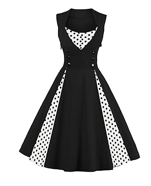Q&Y Women\'s Plus Size 50s Vintage Classic Polka Dot Swing Pinup Rockabilly  Dress