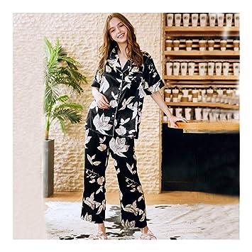 HAOLIEQUAN Mujeres Pijama Conjunto Camisa De Manga Corta Pantalones Largos 2 Piezas Pijamas con Cuello En