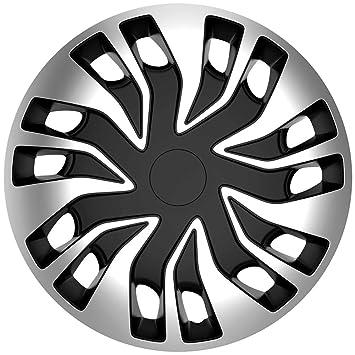 """AutoStyle rápida Van Juego de fundas para ruedas de 16 """", plata/negro"""
