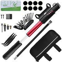 WEStore Kit D'outils pour Vélo Outil de Réparation Sacoches avec Mini Pompe 120 PSI Outils Multifonction Pièce Crowbar pour Plein Camping Air