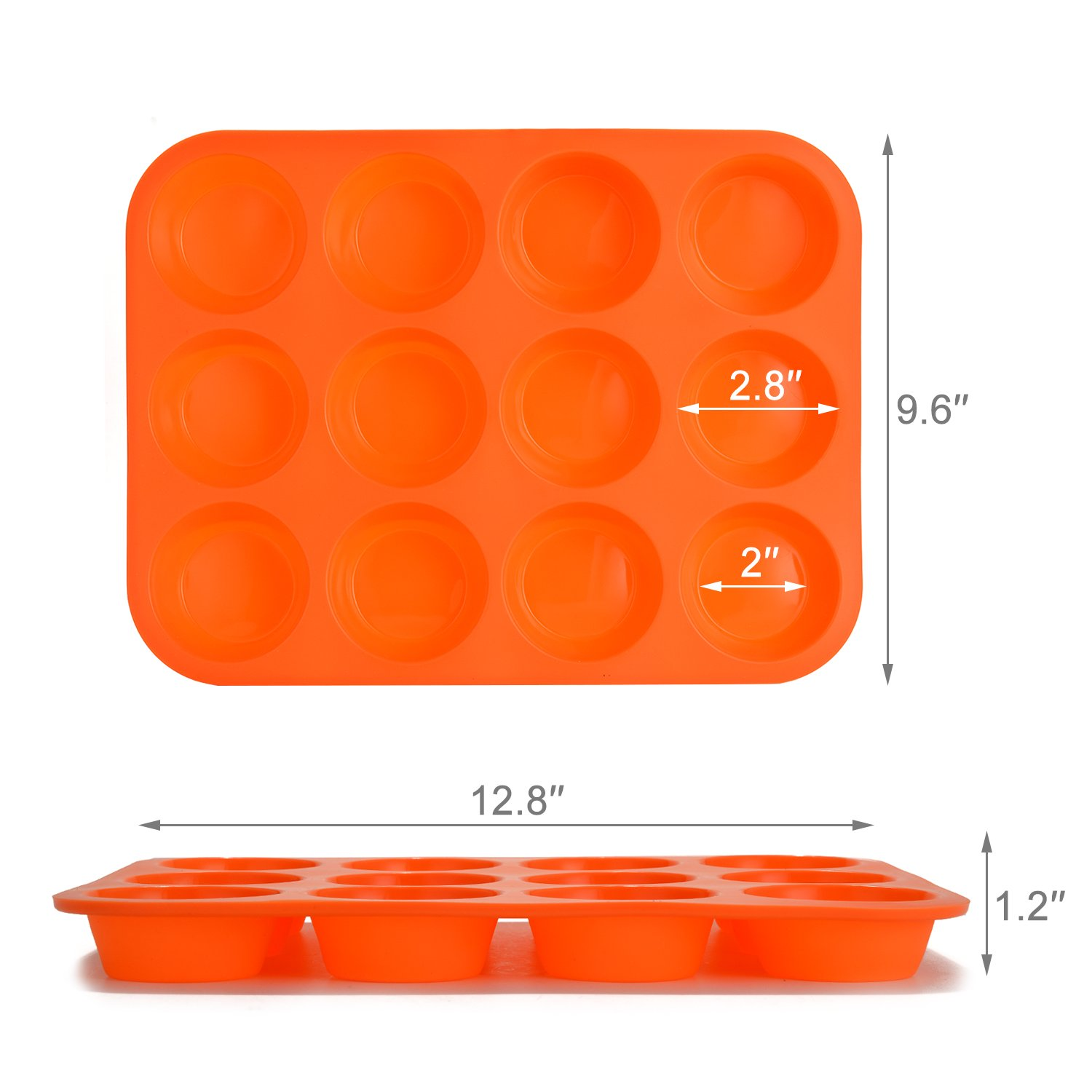 FITNATE Bakeware Silicone Muffin Pan 12 Cup, BPA-free, Non Stick by FITNATE (Image #5)