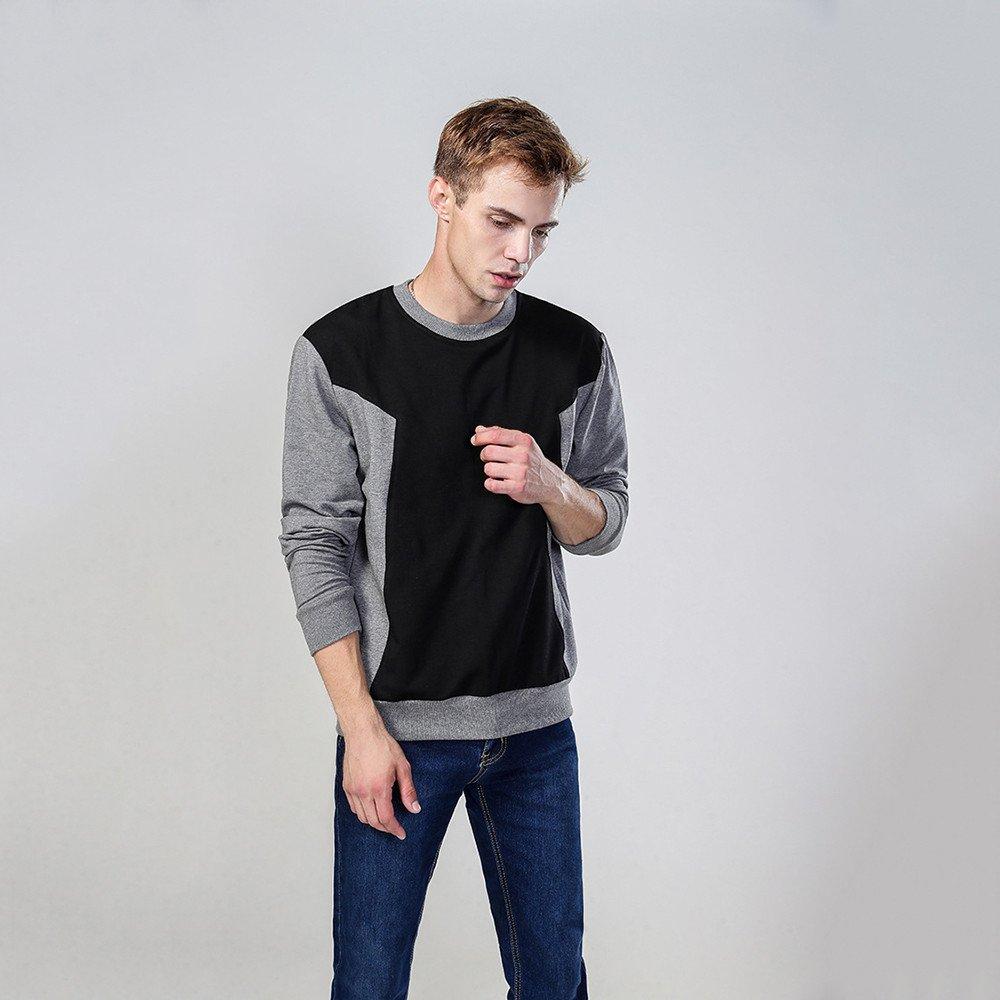 Lisux Hals langärmelige Pullover und EIN Baumwoll - t - Shirt und langärmelige Pullover,grau - schwarz,2XL