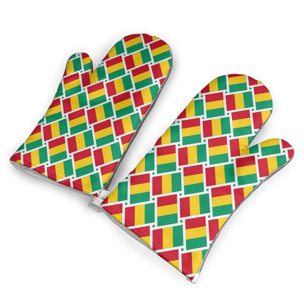 Oven Mitts 5.5 X 12 In Guinea Flag Weave Non-Slip Kitchen Oven Gloves Heat Resistant Washable Cotton Lining by KIXYOUHUU