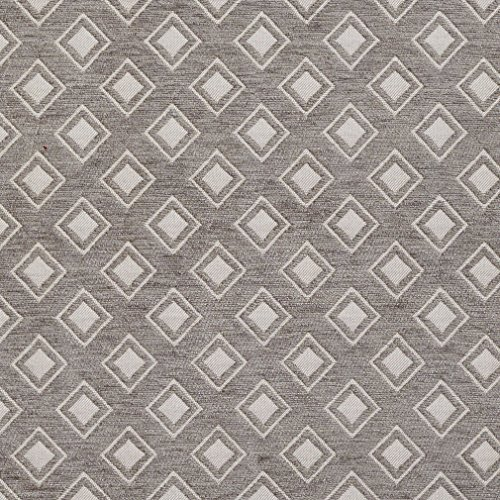 Diamond Chenille Upholstery - Gray and Silver Abstract Diamond Contemporary Abstract Chenille Upholstery Fabric by the yard