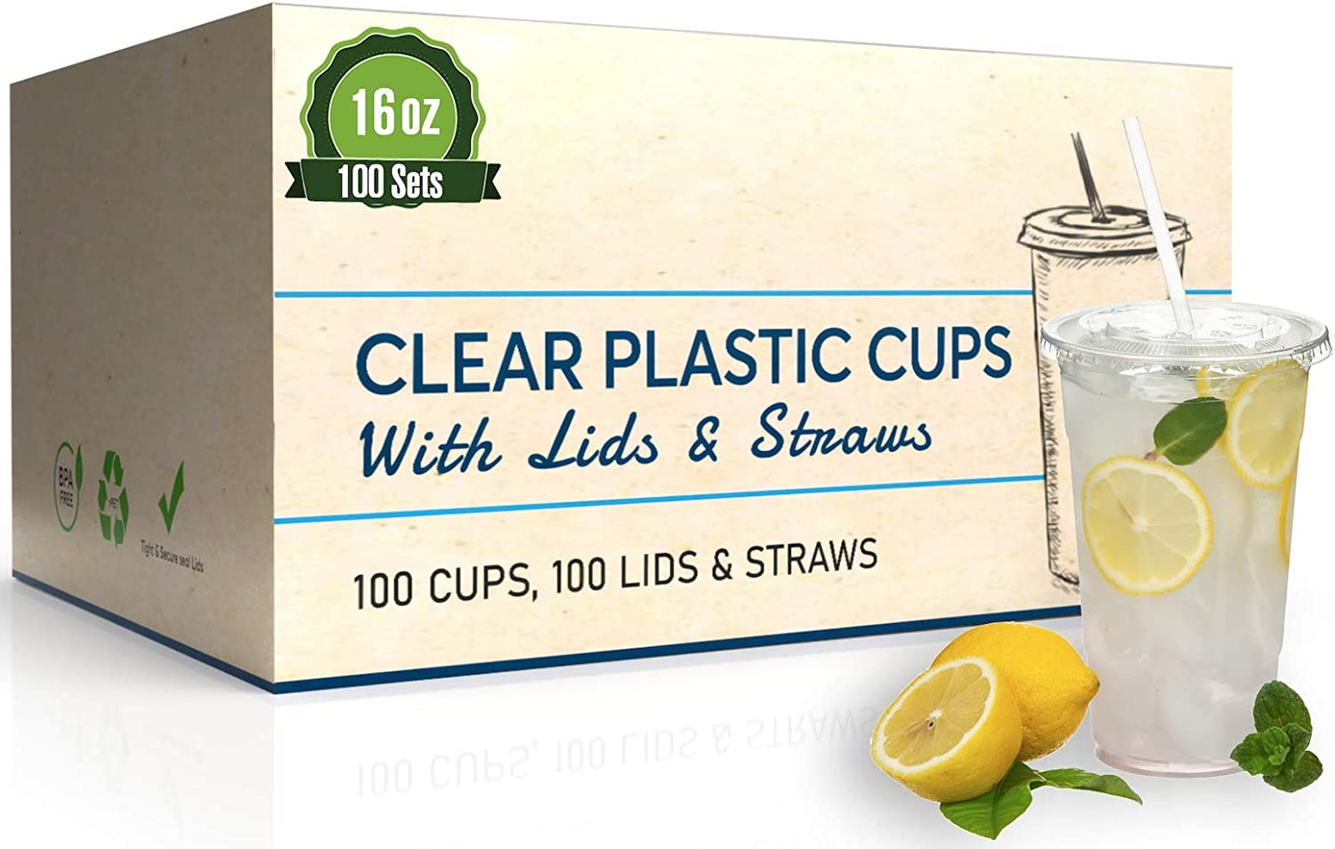 Safeware [100 Sets - 16 oz.] Disposable Clear Plastic to go Cups with Flat Lids and Straws | Ice Coffee | Bubble Tea | Smoothie | Cold Beverage | Milkshake | Travel.