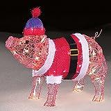 Precious little Holiday 20 inch Pre lit Baby Pig in Santa Suit Indoor Outdoor Yard Art