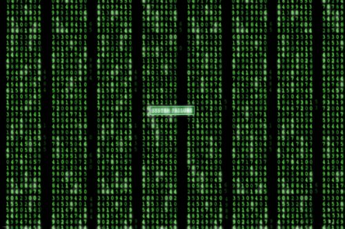 THE MATRIX SYSTEM FAILURE poster number grid rows NEON GREEN
