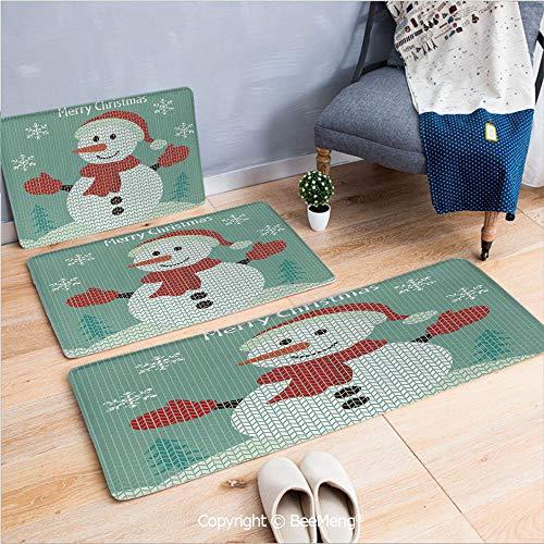 3 Piece Water Uptake Indoor Modern Anti-Skid Cartoon Carpet,Snowman,Traditional Holiday Cute Greeting Snowman Snowflakes Pine Trees Cheerful Decorative,Seafoam Multicolor,16x24/16x39/18x45 inch
