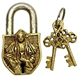 Decorative Brass Metal Buddhist Goddess Tara Design Padlock Home Decor Gold Tone Locks