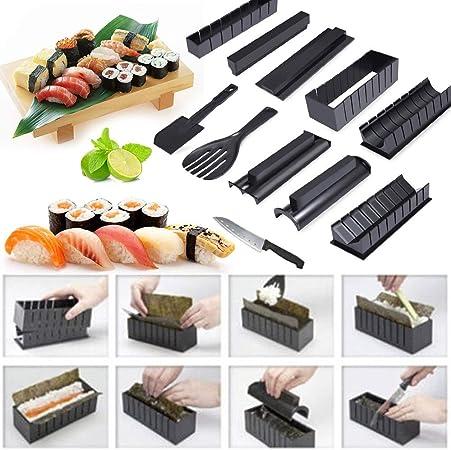Jueyan Kit De Préparation à Sushi Kit Sushis Makis Complet 11 Pièces Avec Couteau Expert Pour Sushi Facile à Nettoyer Idée Cadeau Homme Femme