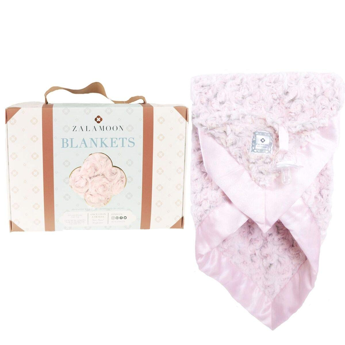 Zalamoon Luxie Pocket Plush Baby Toddler Blanket with Hook-and-Loop Fastener Strap (Blush) by ZALA MOON
