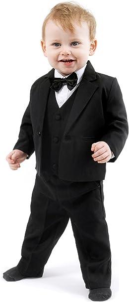 Mertinat Exclusive Schicker TaufanzugBaby Anzug 5 teilig, schwarz Uni