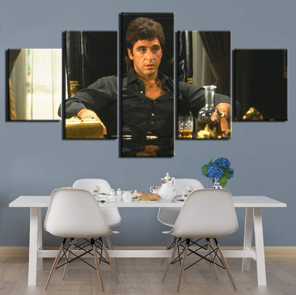 Chuixiaoxiao1 Peinture sur Toile de 5 pi/èces de Panneau Peinture sur Toile Moderne 5 Pcs HD Prints Art Posters Art Wall Art Scarface Images pour Salon D/écoration Wall Art