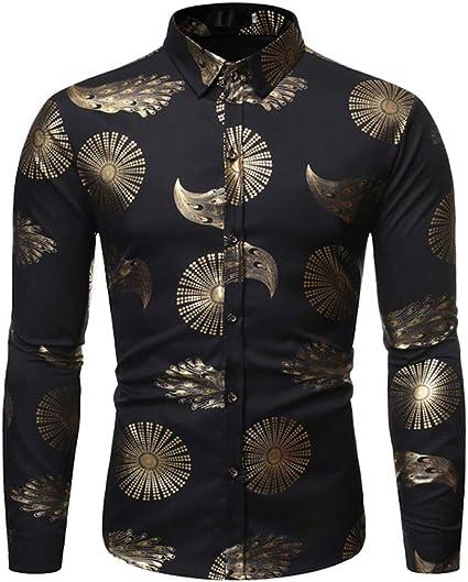 LISILI Camisas para Hombre Hipster Oro Brillante Impreso ...