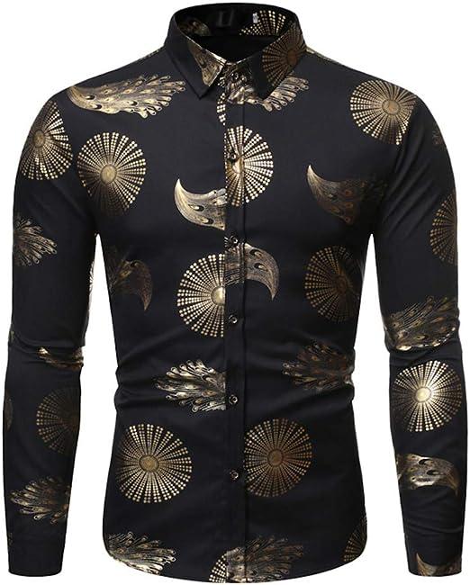 LISILI Camisas para Hombre Hipster Oro Brillante Impreso Ajustado Manga Larga Casual Camisa De Vestir/Blusa De Baile De Graduación Tops,Negro,XL: Amazon.es: Hogar