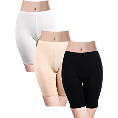 3 Pieces Women Stretch Slipshort Half Length Short Leggings Safety Pants Under Dresses for Girls Accessory at Amazon Women's Clothing store