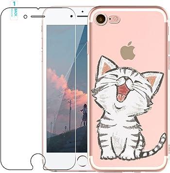 Funda iPhone 7,Funda iPhone 8, Blossom01 Funda [con Protector de Pantalla de Vidrio Templado] Funda Ultra Fina de Gel de Silicona TPU con Dibujo Animado para iPhone 7/8: Amazon.es: Electrónica