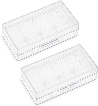 UltraFire Caja de Bateria Estuche de Batería Para la Pilas Recargables 18650 / 16340 / CR123A Plástico Portapila Portabateria Transparente(2 Paquete): Amazon.es: Electrónica