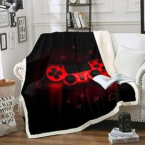 "Erosebridal Boys Games Room Bed Blanket Red Gaming Console Throw Blanket for Bedroom Video Game Gamepad Sherpa Fleece Blanket for Kids Girls Teens Hipster Gamer Game Controller Flannel Blanket,50""x60"""