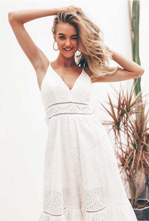 WULILEI Embroiry Vestido Blanco de Verano para Mujer Botones de Perlas con Cuello en V Vestidos de Fiesta de Noche Largo S: Amazon.es: Deportes y aire libre