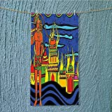 SeptSonne camping microfiber towel Spiritual Faith Prince Tribal Oriental Bohemian Orange Blue for Maximum Softness W11.8 x H27.5 INCH