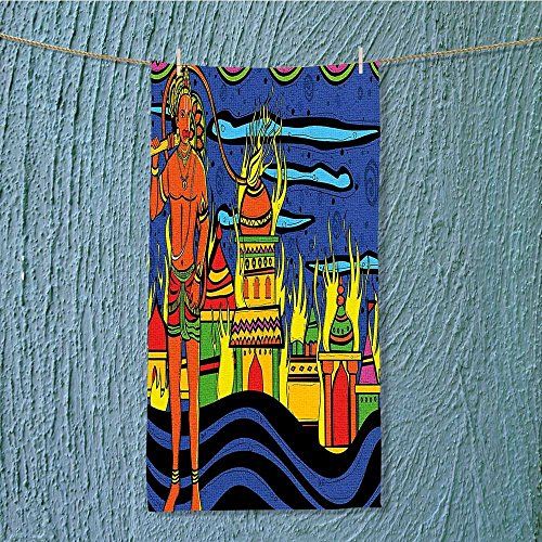 SeptSonne camping microfiber towel Spiritual Faith Prince Tribal Oriental Bohemian Orange Blue for Maximum Softness W11.8 x H27.5 INCH by SeptSonne