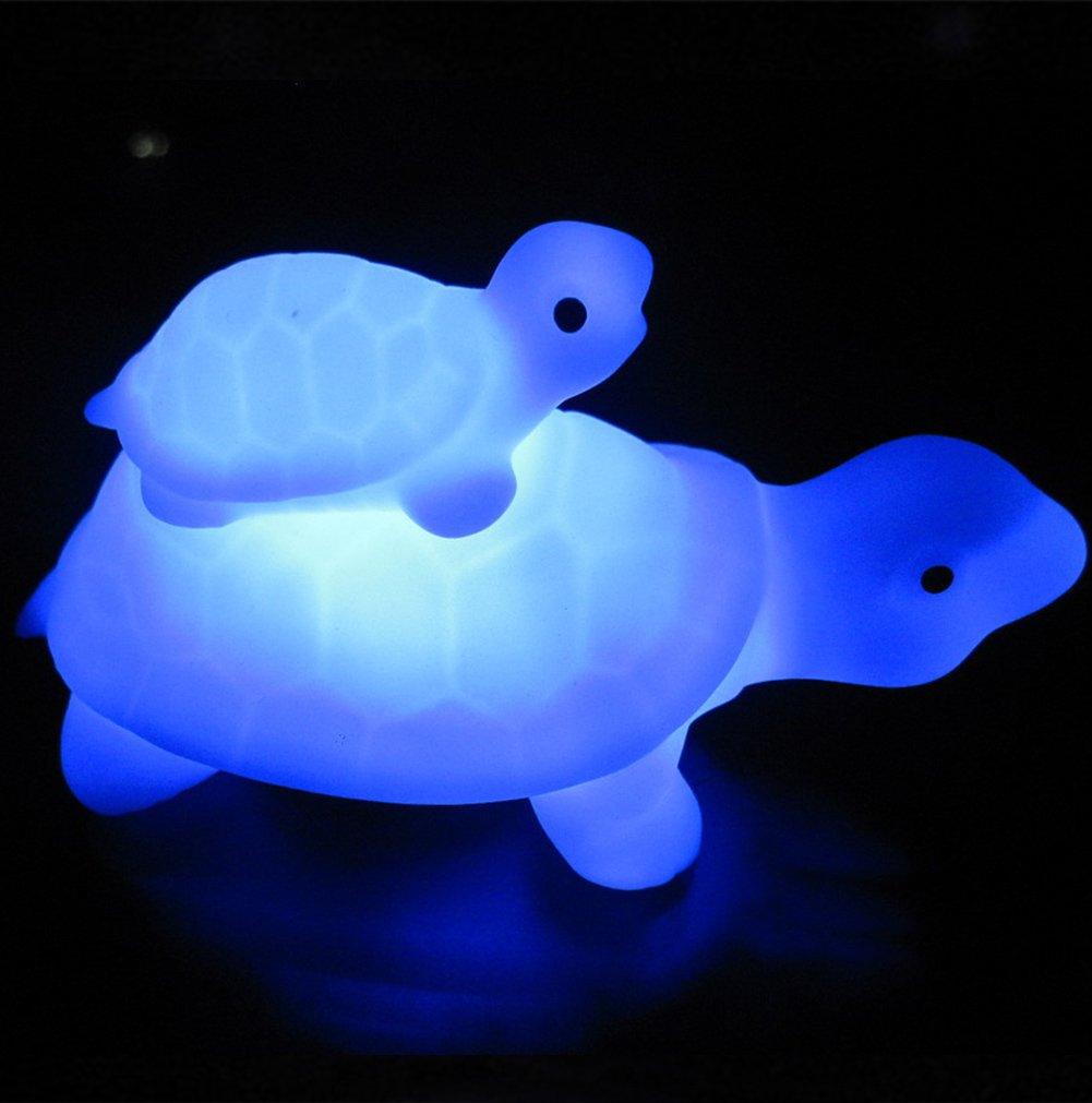 ナイトライト、denpetecポータブル子と母Tortoise Turtle LED夜ランプwith 7-color Changingフラッシュランプ、Nightlight B07CJY4XL2 19593