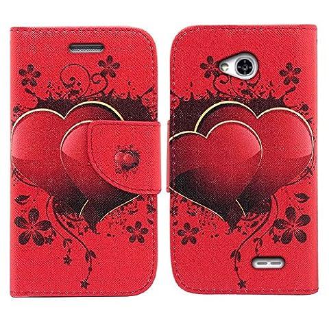 LG Ultimate 2 Case, LG Ultimate 2 Wallet Case, SOGA [Pocketbook Series] PU Leather Magnetic Flip Design Wallet Case for LG Ultimate 2 L41C / Optimus L70 - Red Lovely (Lg L41c Phone Case Wallet)
