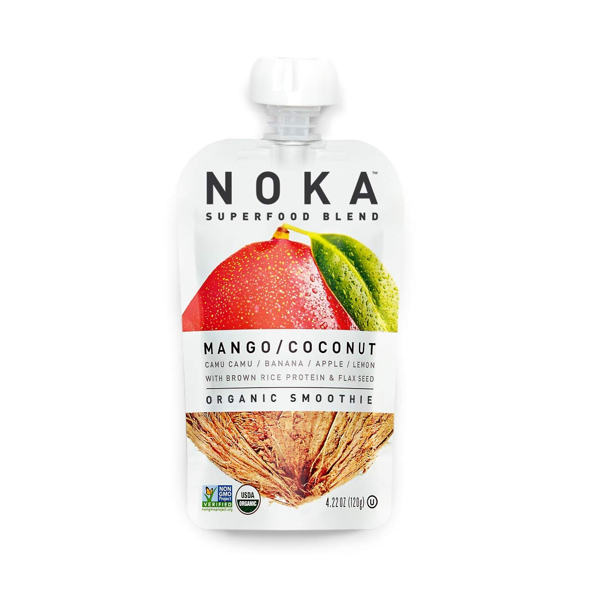 NOKA Superfood Pouches (Mango Coconut) | 100% Organic Fruit And Veggie Smoothie Squeeze Packs | No Added Sugar, Non GMO, Gluten Free, Vegan, 4g Plant Protein | 4.2oz Each - Pack of 6