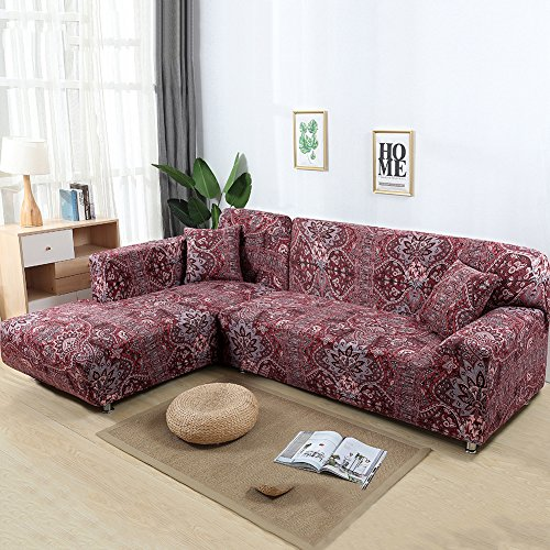 Baecon Pet 2pcs Stretch Printed Sofa Cover High-Strength Elastic Polyester Couch Slipcovers + 2pcs Pillow Covers for Sectional Sofa L-Shape Couch with Anti-Slip Non-Slip (Bohemian Style)