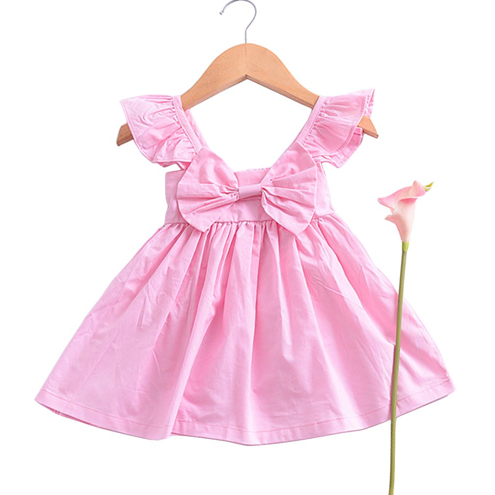 UNI Angel Toddler Baby Girls Summer Casual Cute Sleeveless Maxi Dress with Big Bowknot
