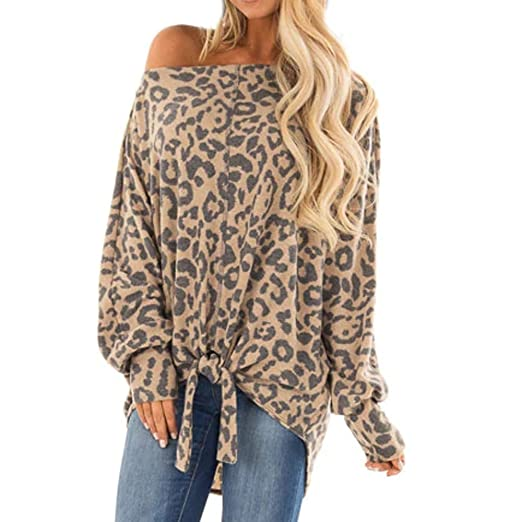 e42837d9e6337 Amazon.com  Women s Batwing Sleeves Sexy Leopard Print Shirt One Shoulder  Pullover Tunics Front Twisted Tops  Clothing