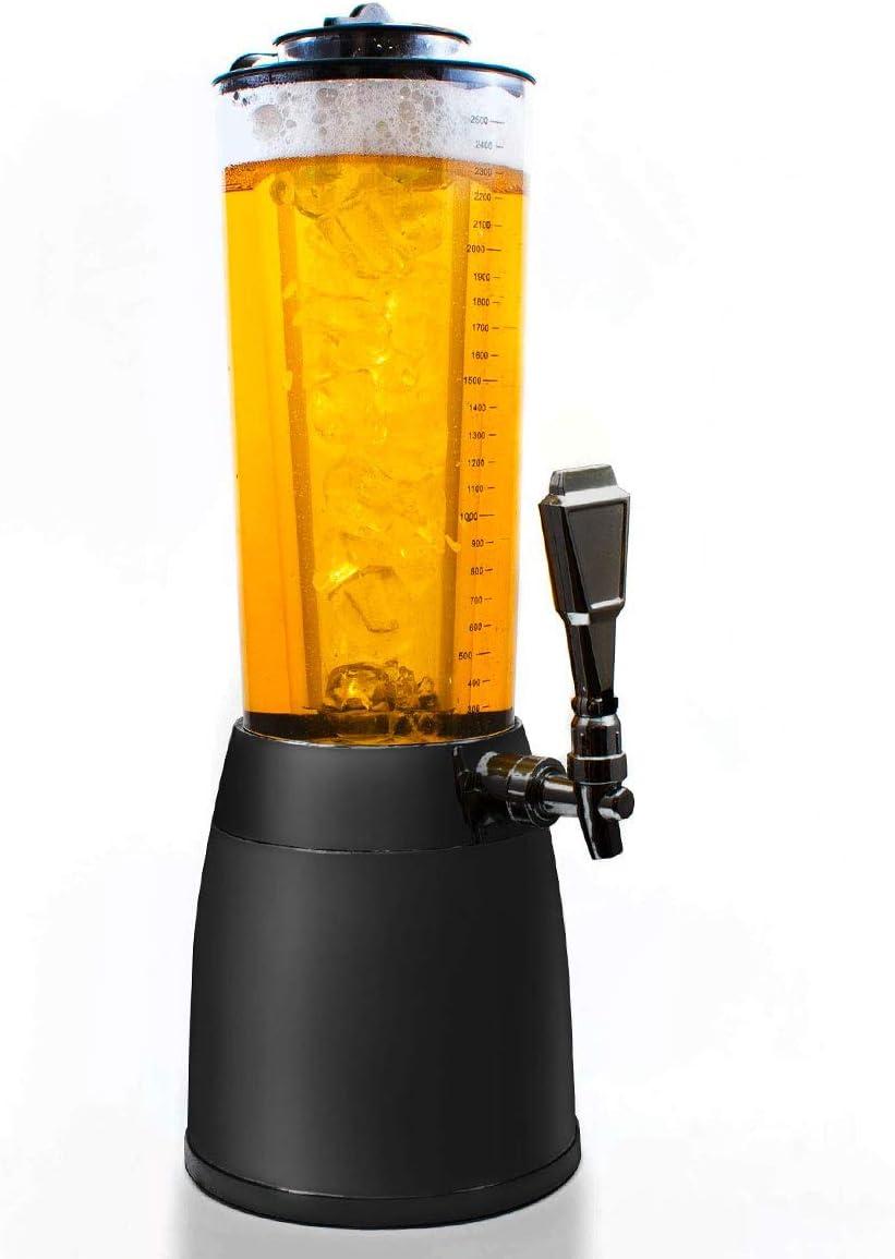 Goods & Gadgets Dispensador de Cerveza de 4,0L Dispensador Torre de Cerveza de Culto Columna de Bebida Dispensador de Bebidas Columna de Bebida con 1.3L de Hielo refrigerado