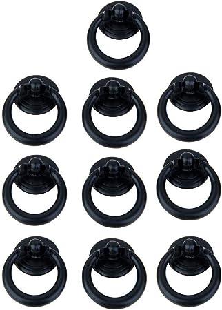 Image of10 tiradores de anillo redondo de un solo agujero negro con tornillos para armario, cajón, puerta, armario, tirador