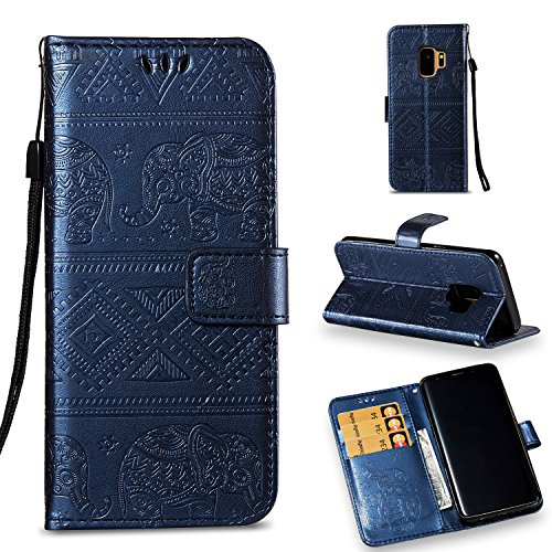 Galaxy S9 Wallet Case, KMISS Premium Emboss Elephant [Kickstand Feature] Flip PU Leather Wallet Protective Case Cover Card Slot Samsung Galaxy S9 (Blue) ()