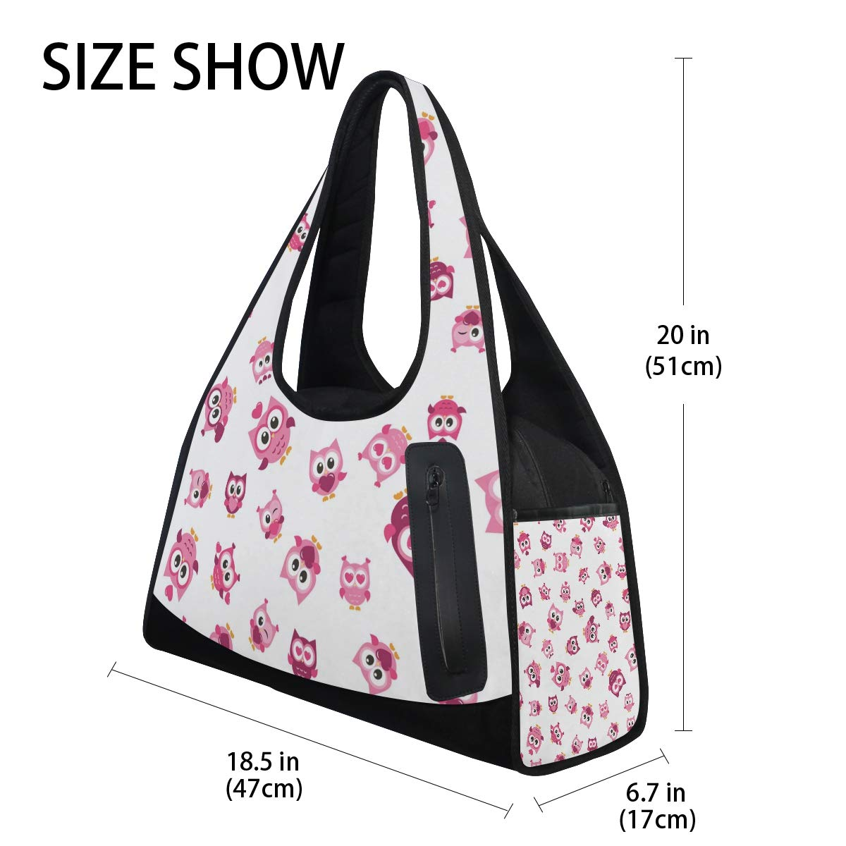 Unisex Travel Duffels Gym Bag Cute Owl Canvas Weekender Bag Shoulder Bag Totes bags