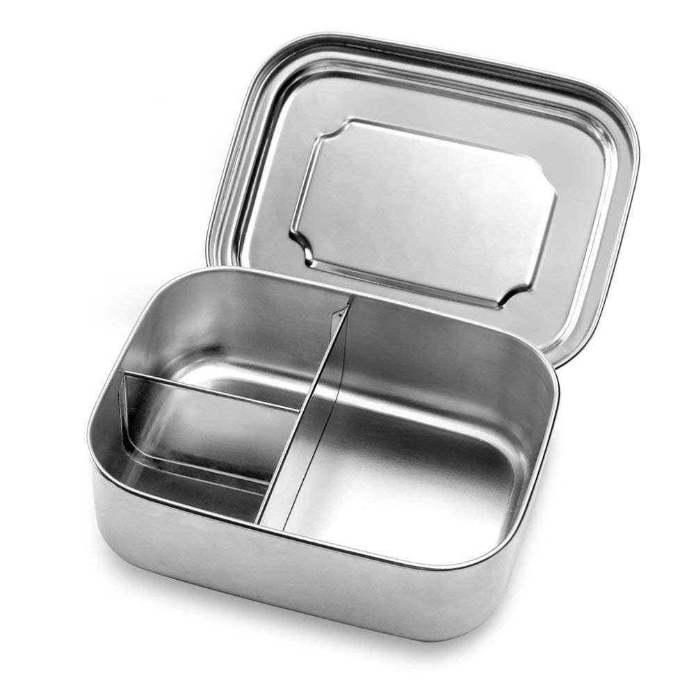 Stainless Steel Food Container Bento Storage Lunch Box, Fenrun 3 Compartments Design Perfect for Picnic Salad Box Healthy Snacks, or Finger Foods, for Kids or Adults, Eco-Friendly, Dishwasher Safe. by Fenrun