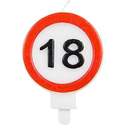Party Collection - Vela de cumpleaños (18 Unidades, 6 x 8,5 cm), diseño de señal de tráfico: Juguetes y juegos