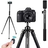 Kamerastativ Kamera Stativ, Moreslan (1.54m) Selfiestick Handy Stativ Reisestativ Aluminium mit 360°Kugelkopf Bluetooth Fernbedienung Stativtasche für Canon/Nikon/Sony/iPhone/Handy/Kamera/SLR