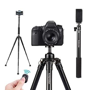Trípode de Cámara Profesional, Ajustable Monopie de Cámara Bluetooth Palo Selfie Soporte Extensible Hasta 154CM con Control Remoto para Teléfonos ...