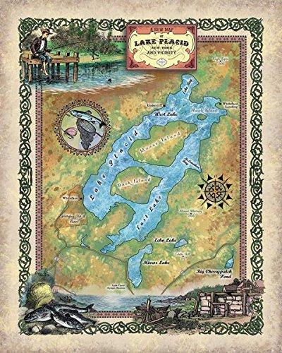 Lake Placid New York Map.Amazon Com Great River Arts 273 Lake Placid New York Custom Map