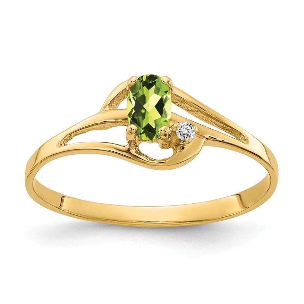 VS2 clarity, G-I color Jewelry Adviser Rings 14k 5x3mm Oval Peridot VS Diamond ring Diamond quality VS