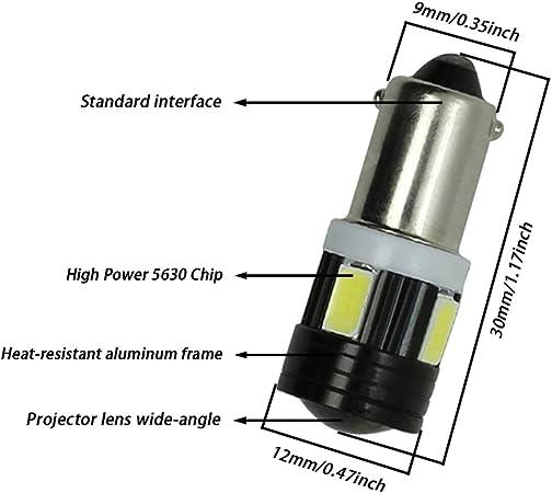 TABEN 4 pcs T4W BA9S LED Ampoule En Aluminium Projecteur Lentille De Voiture Int/érieur Porte Lat/érale Courtoisie Lumi/ère 6 smd 5630 Led Parking Lampe Blanc 12 V